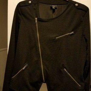 Black Asymmetrical Zip Moto Jacket